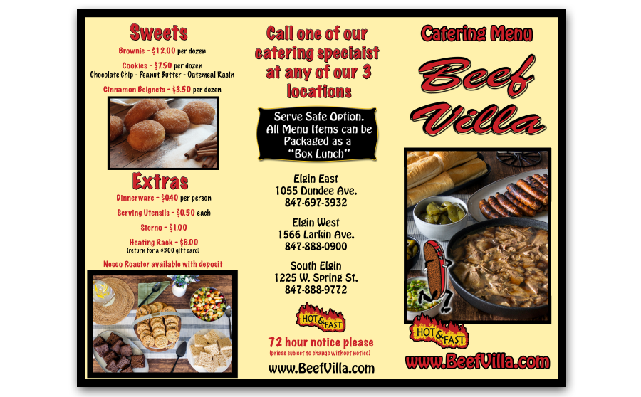 Beef Villa Catering Menu - Outside